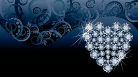 De uitnodigingskaart van de huwelijksliefde met diamanthart Stock Foto
