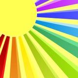 De Uitnodigingskaart van de regenboogzon Stock Foto's