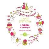 De Uitnodigingskaart van de verjaardagspartij Stock Fotografie