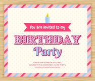 De uitnodigingskaart van de verjaardagspartij Royalty-vrije Stock Foto