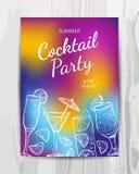 De uitnodigingskaart van de verjaardagspartij Cocktail partyvlieger Stock Afbeeldingen