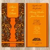 De uitnodigingskaart van het de herfst tansy huwelijk Voor het drukken geschikte Vectorillustratie Royalty-vrije Stock Afbeelding