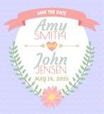 De uitnodigingskaart van het huwelijk Stock Afbeelding