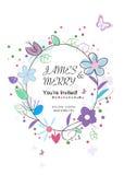 De uitnodigingskaart van het huwelijk Bloemen achtergrondgroetkaart Royalty-vrije Stock Fotografie