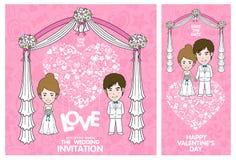 De uitnodigingskaart van het huwelijk De kaart van de valentijnskaart vector illustratie