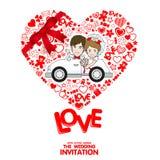 De uitnodigingskaart van het huwelijk De kaart van de valentijnskaart royalty-vrije illustratie