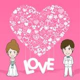 De uitnodigingskaart van het huwelijk De kaart van de valentijnskaart stock illustratie