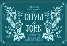De uitnodigingskaart van het huwelijk Hand getrokken illustratie Stock Fotografie