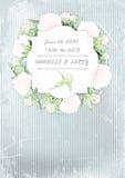 De uitnodigingskaart van het huwelijk kroon van pioenen op grungeachtergrond Vector ilustration Royalty-vrije Stock Afbeelding
