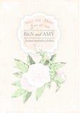 De uitnodigingskaart van het huwelijk pioenen op grunge roze achtergrond Vector illustratie Royalty-vrije Stock Foto