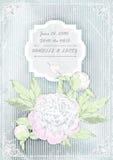 De uitnodigingskaart van het huwelijk pioenen op grungeachtergrond Vector ilustration Stock Afbeelding