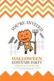 De uitnodigingskaart van landbouwershalloween voor de partij leuke ki van de kostuumnacht royalty-vrije illustratie
