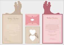 De uitnodigingskaarten van het huwelijk Stock Afbeelding
