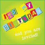 De uitnodigingsmalplaatje van de verjaardag stock fotografie