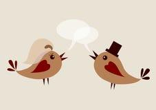 De uitnodigingsmalplaatje van het huwelijk, twee vogels Royalty-vrije Stock Foto's