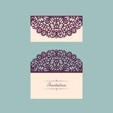 De uitnodigingsmalplaatje van het Lazercut vectorhuwelijk De envelop van de huwelijksuitnodiging voor laserknipsel De vouwen van  vector illustratie