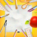De uitnodigingsmalplaatje van het schoolseizoen Eps 10 stock illustratie