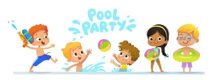 De Uitnodigingsmalplaatje van de poolpartij baner De multiraciale Kinderen hebben pret in pool Roodharigejongen met een stuk spee royalty-vrije illustratie