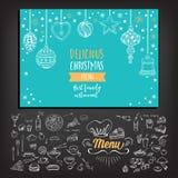 De uitnodigingsrestaurant van de Kerstmispartij Voedselvlieger vector illustratie
