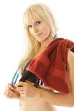 De uitoefenaar van de blonde met handdoek Stock Afbeelding