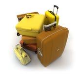 De uitrusting van de bagage in de herfstkleuren Stock Afbeelding