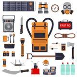 De uitrusting van de overlevingsnoodsituatie voor geplaatste evacuatie vectorvoorwerpen Royalty-vrije Stock Foto's