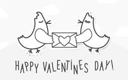 De uitstekende achtergrond van de valentijnskaartendag met liefdevogels, bericht en hart Stock Fotografie