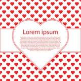 De Uitstekende Achtergrond van de valentijnskaartendag met rood harten en tekstkader Stock Afbeeldingen