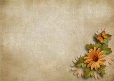 De uitstekende achtergrond van Grunge met bloemen Royalty-vrije Stock Afbeelding