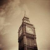 De uitstekende achtergrond van Grunge met de Big Ben royalty-vrije stock foto's