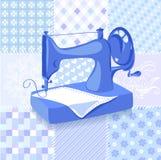 De uitstekende achtergrond van het naaimachinelapwerk Royalty-vrije Stock Afbeeldingen