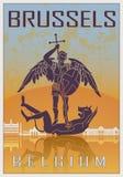 De uitstekende affiche van Brussel vector illustratie