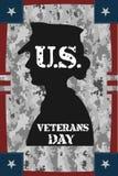 De uitstekende affiche van de veteranendag Stock Foto's