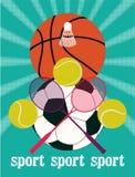 De uitstekende affiche van sportspelen Basketbal, badminton, voetbal, tennis Retro vectorillustratie stock illustratie