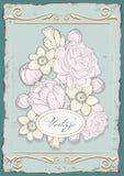 De uitstekende affiche van de tekeningenillustratie met bloemen vector illustratie