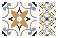 De uitstekende antieke naadloze tegels van ontwerppatronen in Vectorillustratie Stock Afbeelding