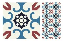 De uitstekende antieke naadloze tegels van ontwerppatronen in Vectorillustratie Stock Foto's