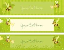 De uitstekende banners van de lente met bijen Stock Foto's