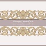 De uitstekende Barokke Keizerstijl van de Uitnodigingskaart Vectordecorachtergrond Luxe gouden ornament Koninklijke Victoriaanse  Royalty-vrije Stock Afbeeldingen
