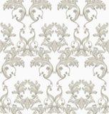 De uitstekende Barokke naadloze Vector van het textuurpatroon Het decor van het behangornament Textiel, stof, tegels in decors royalty-vrije illustratie