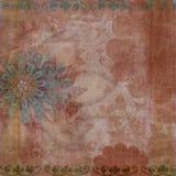 De uitstekende Bloemen Boheemse Achtergrond van het Plakboek van het Tapijtwerk Grunge Royalty-vrije Stock Foto