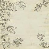 De uitstekende bloemenachtergrond van de muziek vector illustratie