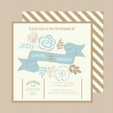 De uitstekende bloemenkaart van de huwelijksuitnodiging Stock Fotografie