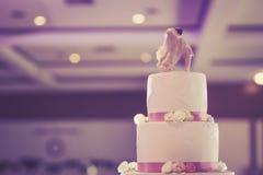 De uitstekende Cake verfraait voor Huwelijksceremonie Stock Afbeeldingen