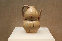 de uitstekende Chinese traditionele fles van het pompoenwater, Chinese pompoenfles Stock Foto
