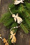 De uitstekende Decoratie van Engelen Houten Kerstmis Royalty-vrije Stock Afbeeldingen