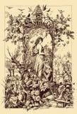 De uitstekende decoratie van het frontispicehoofdstuk, zomer royalty-vrije illustratie