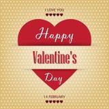 De uitstekende document kaart van de Valentijnskaartendag met hart Stock Fotografie