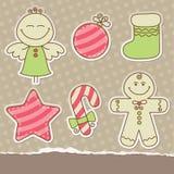 De uitstekende elementen van het Kerstmisplakboek Stock Afbeelding
