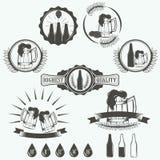 De uitstekende emblemen van de bierbrouwerij, etiketten Stock Fotografie